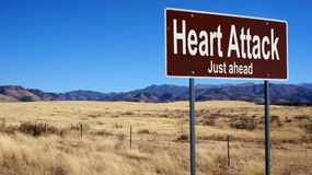 Heart Attack brown road sign Royalty Free Stock Photography