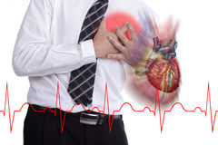 Heart Attack concept with heart graphic Stock Images