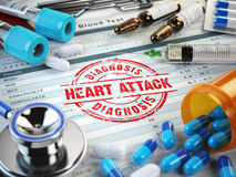 Heart attack diagnosis.. Stamp, stethoscope, syringe, blood test Stock Image