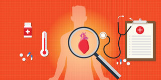 Heart attack disease with medical report Stock Images