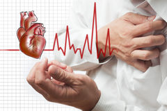 Heart Attack and heart beats cardiogram background Royalty Free Stock Images