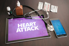 Heart attack (heart disorder) diagnosis medical concept on table. T screen with stethoscope royalty free stock photo