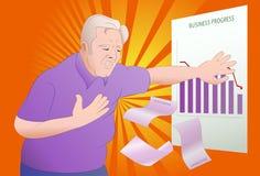 Heart attack. Illustration of a senior businessman got heart attack seeing his business progress on office vector illustration
