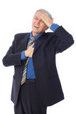 Heart attack. Image of businessman having a heart attack, isolated on white Royalty Free Stock Images