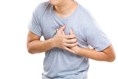 Heart Attack of man. Isolated on white Stock Images