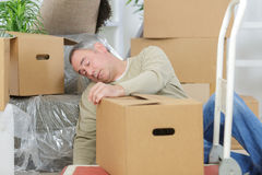 Heart attack while moving boxes Royalty Free Stock Photography