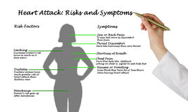 Heart Attack: Risks and Symptoms. Presenting diagram of Heart Attack: Risks and Symptoms Stock Photography