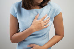 Heart attack symptom. On white background stock images