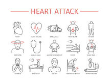 Heart Attack. Symptoms, Treatment. Line icons set. Vector. Signs for web graphics Royalty Free Stock Photo