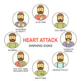 Heart attack warning signs colored vector line style icons set Royalty Free Stock Photography