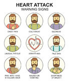 Heart attack warning signs vector line style colored icons set Stock Image