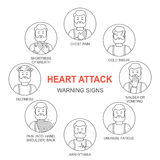 Heart attack warning signs vector line style icons set Stock Photo