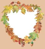 Heart of autumn, aqwarelle frame of oak leaves royalty free stock photo