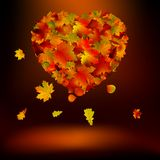 Heart with autumnal leaves. EPS 8 Royalty Free Stock Photo