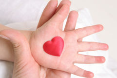 Heart in baby`s hand Stock Photos