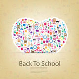 Heart Back to School Seamless children background, illustration Royalty Free Stock Images