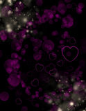 Heart background. Black background with pink hearts Royalty Free Stock Photography