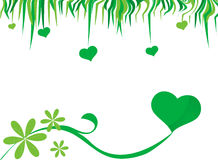 Heart background. Green ecology heart background and hanging hearts in top Stock Image