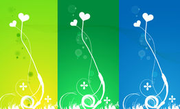 Heart background. Three various color heart background in under the one banner Stock Image