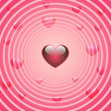 Heart background. Retro valentine background with hearts and circles Royalty Free Stock Images
