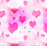 Heart Background. Pink and red hearts in a gradient background royalty free stock image