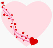 Heart background. Lots of hearts and a pink ribbon over a big heart Royalty Free Stock Image