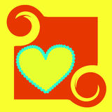 Heart background. Yellow background with heart and wavy line Royalty Free Illustration