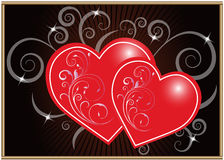 Heart background. Lovely red heart on dark background, vector illustration. Suits well for a postcard or background Stock Photo