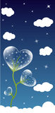 Heart background. Transparent flower heart and clouds. Cool background for card stock illustration