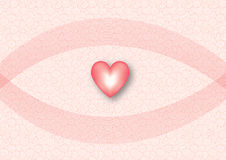 Pink and red heart illustration. With a white and red swirly seamless background Royalty Free Stock Photography