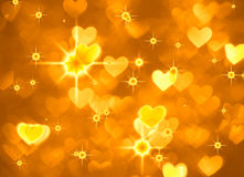 Heart background boke photo, bright yellow color. Abstract holiday, celebration and valentine backdrop. Royalty Free Stock Photos
