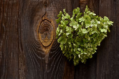 Heart  background of the fence. Green heart of flowers on a background of a wooden fence Stock Photo
