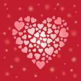 Heart Background. Heart illustration on red background specially for valentines day and wedding, lovers, couples related designs. Red heart formed by hearts in Stock Photos