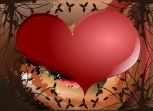 Heart on background with floral decoration. Image representing a colorful heart on a fantasy floral background Stock Image