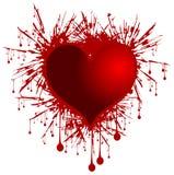 Heart on bleeding background isolated Stock Image