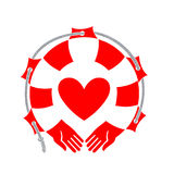 Heart on the background of life buoy. vector illustration