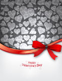 Heart Background with red bow Stock Image