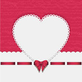 Heart background with ribbon pink2. Valentine Background with White Heart, Ribbon and Bow on a Pink Background Stock Photography