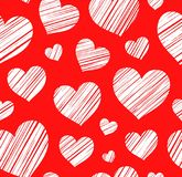 Heart, background, seamless, red, vector. Stock Image