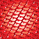Heart background. Shiny 3D hearts on abstract background Stock Photo