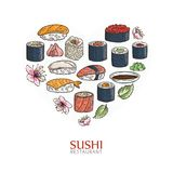 Heart background with sushi and rolls. Japanese traditional cuisine illustration. Royalty Free Stock Photo