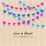 Heart background Textured bunting and colorful garland set Stock Photos