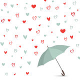 Heart background with umbrella. Love pattern for greeting card. Heart texture. Romantic date card with  hearts set. Rain of heart with umbrella. Love pattern Stock Photos