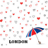 Heart background with umbrella. Love pattern for greeting card. Royalty Free Stock Image