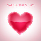 Heart background. Valentine's Day background with glossy pink heart and shiny ligh stock illustration