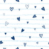 Heart background vector. Hand drawn hearts and lines. Marine sty Royalty Free Stock Image