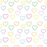 Heart background vector. Seamless, pattern. Hand drawn hearts. Stock Image