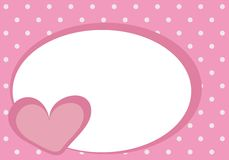 Heart background with white space for text. Cute pink heart with polka dots background and white space for text message. Card or invitation; vector illustration Stock Photo