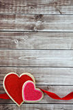 Heart background. Heart on wood background with copy space Stock Images