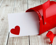 Heart background. Heart on wood background with mailbox with copy space Royalty Free Stock Photos